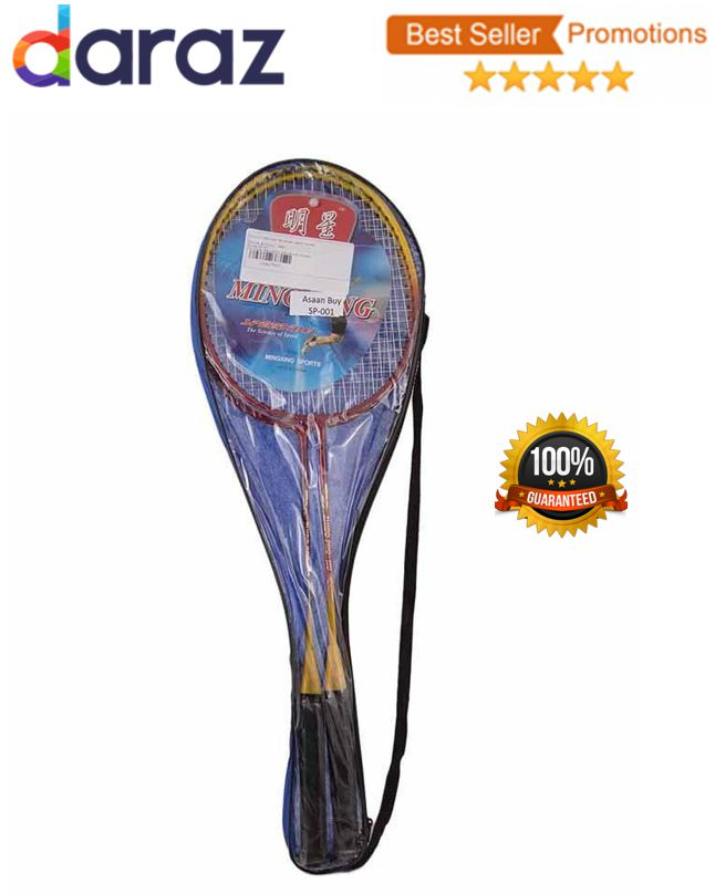 2 Badminton Rackets For adults with 2 nylon speed Shuttles