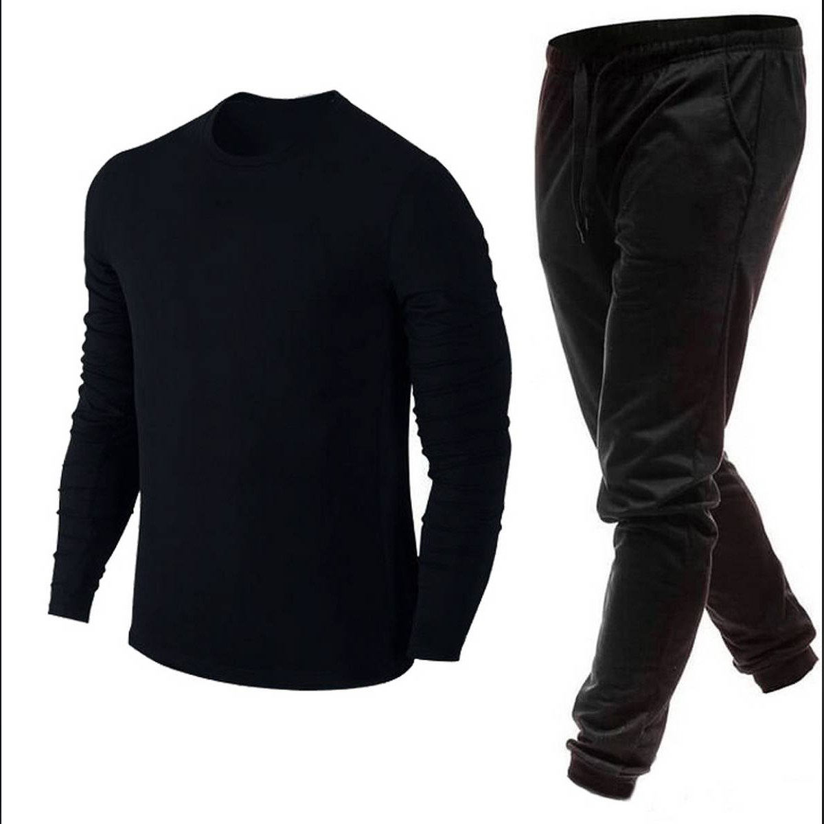 Plain Black New Collection Sports Tracksuit Casual Cotton Round Neck Tees Full Sleeves T Shirt And Trouser For Men - IJ Traders