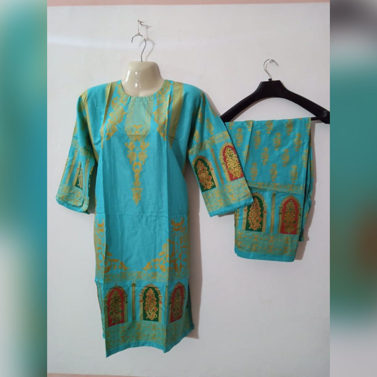 stitched linen 2 pc printed dress for ladies/ women/ girl