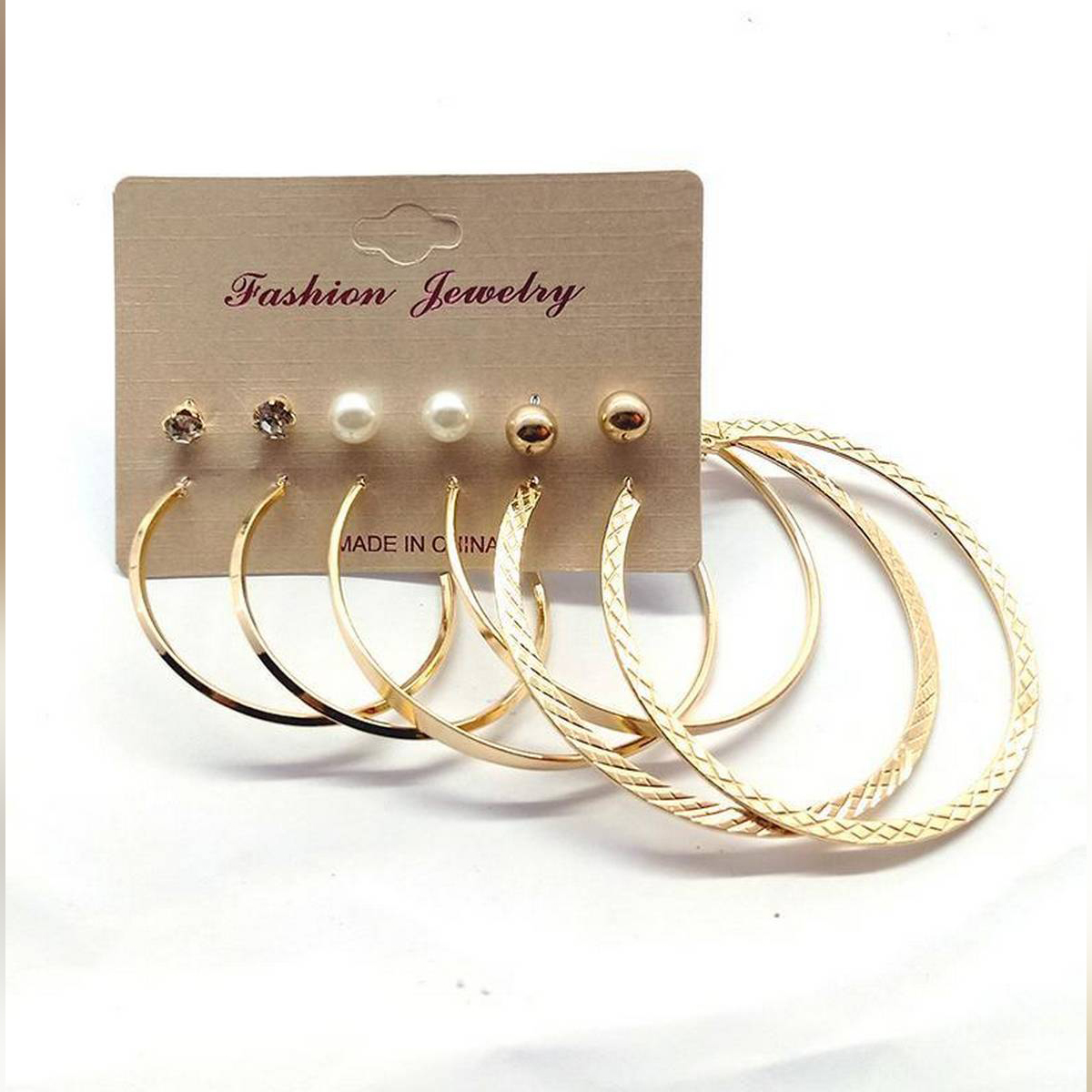 3 Pairs Round Simple Bali and 3 Pairs Drop Earrings 2020 New Fashion Minimalist Jewelry