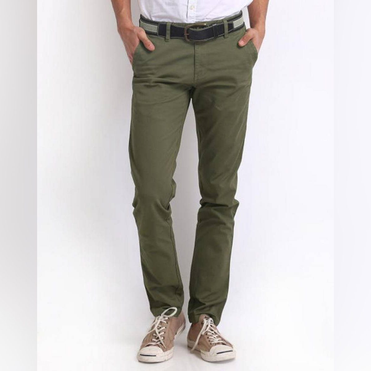 Olive Green Cotton Men's Chino Slim Fit