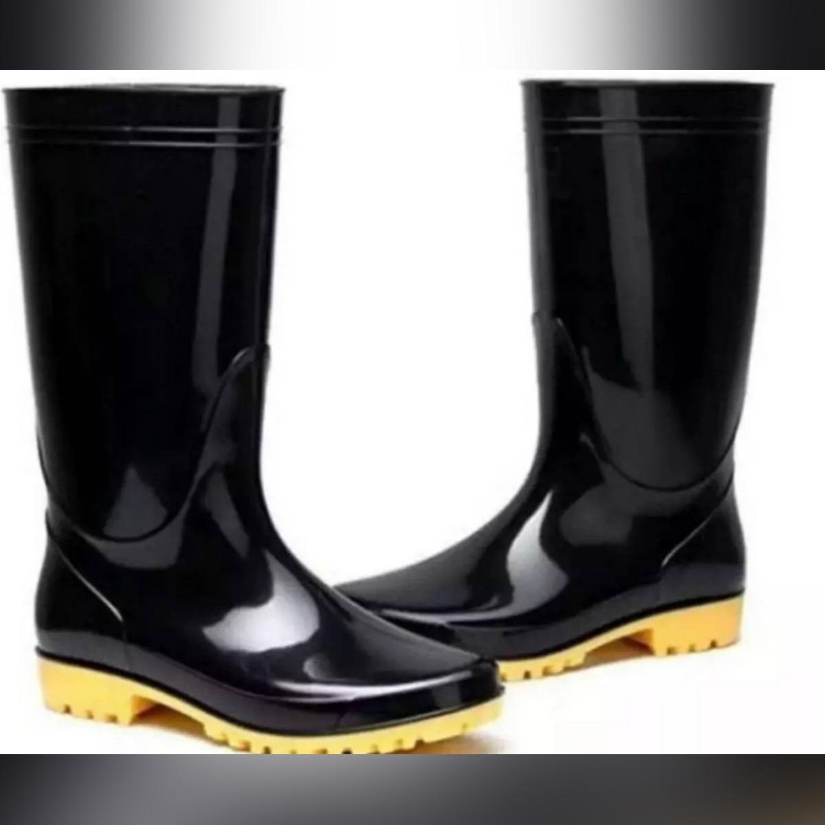 WATERPROOF LONG HEIGHT ONE PAIR BLACK RUBBER RAIN BOOT FOR MEN&&WOMEN