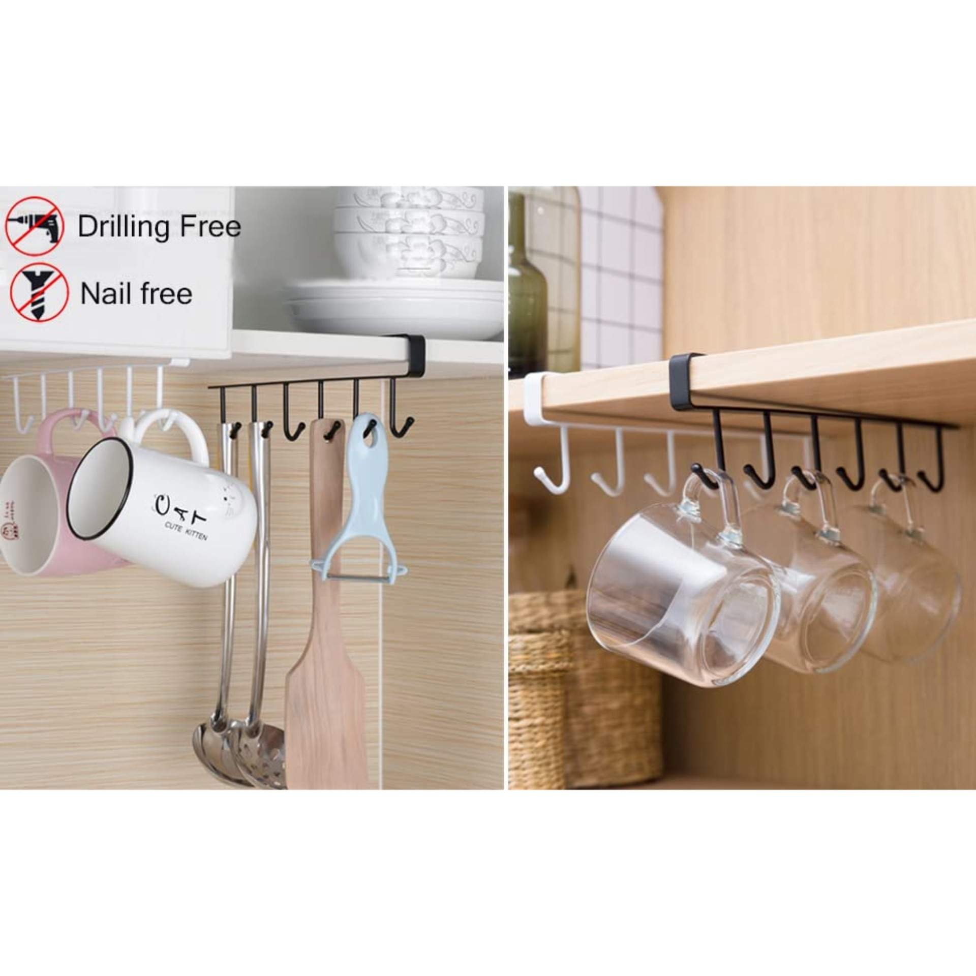 Mug Holder Under Cabinet Adhesive Cup Hooks Drilling Free Buy Online At Best Prices In Pakistan Daraz Pk