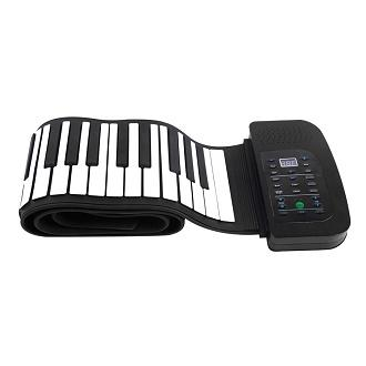 Silicone Flexible Roll Up Foldable Keyboard Piano with Battery and Sustain  Pedal - 88 Keys