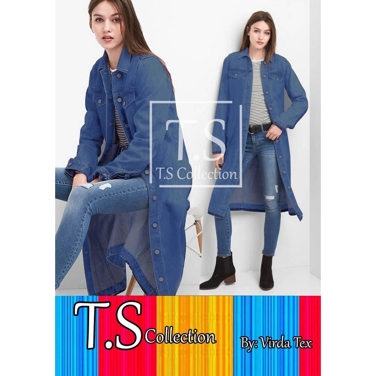 New Ladies Long Denim Coat