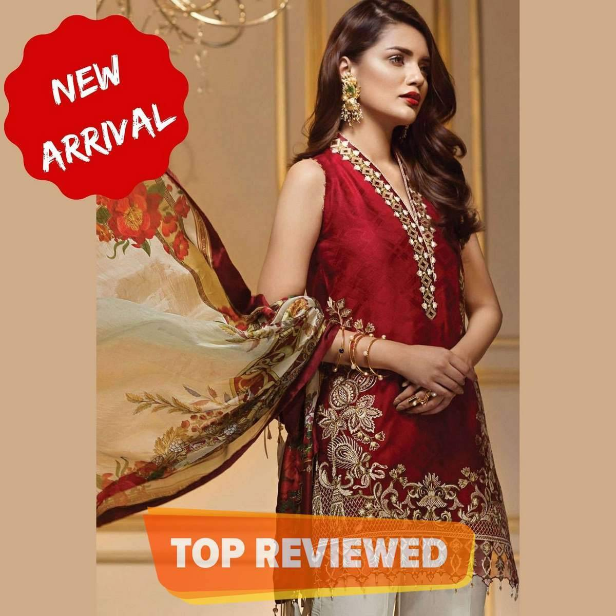 Rose Red Lawn Summer Collection 2021 - 3PC Embroidered Unstiched Lawn Suits for Women