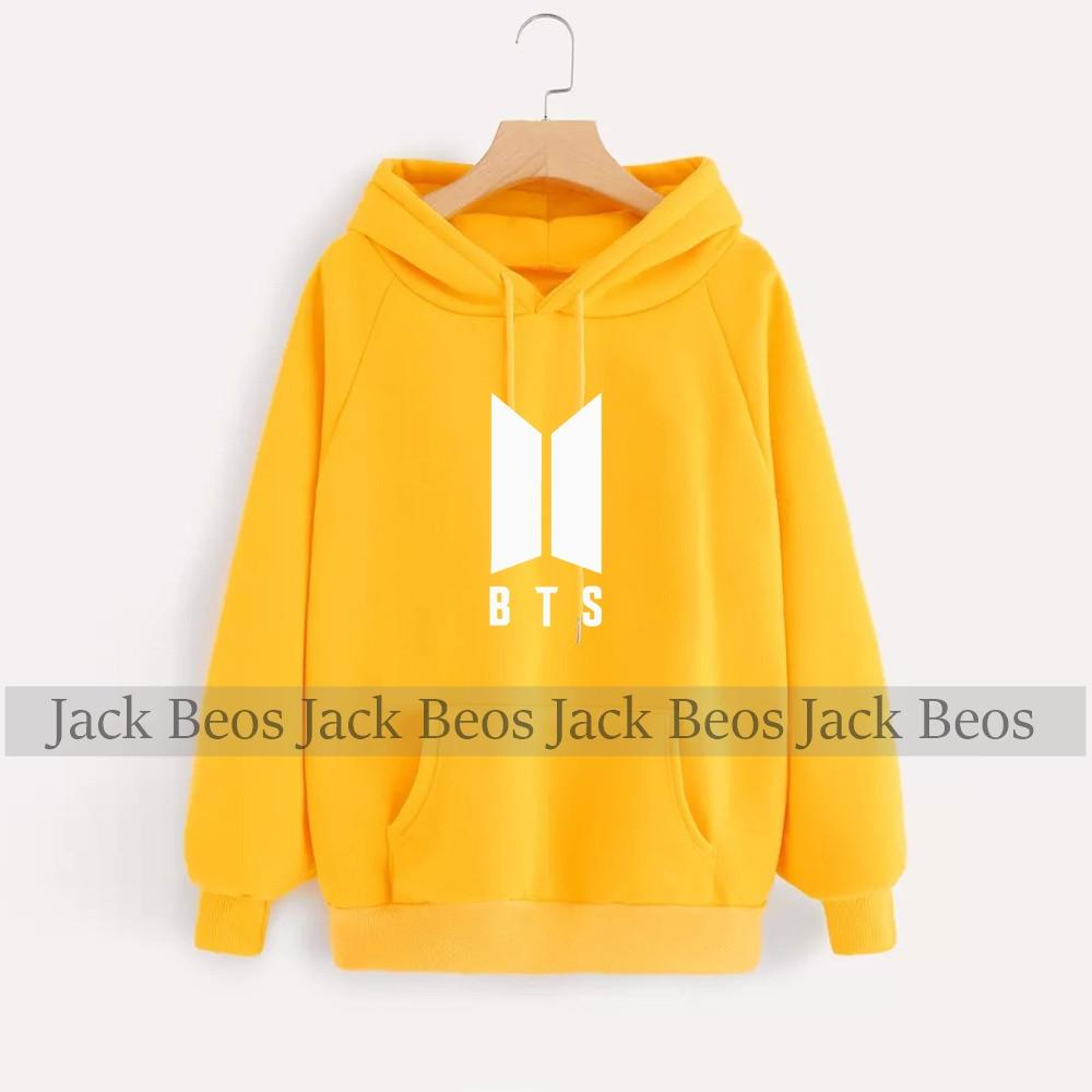 BTS Yellow Hoodie Pocket Drawstring Hooded Casual Pullover
