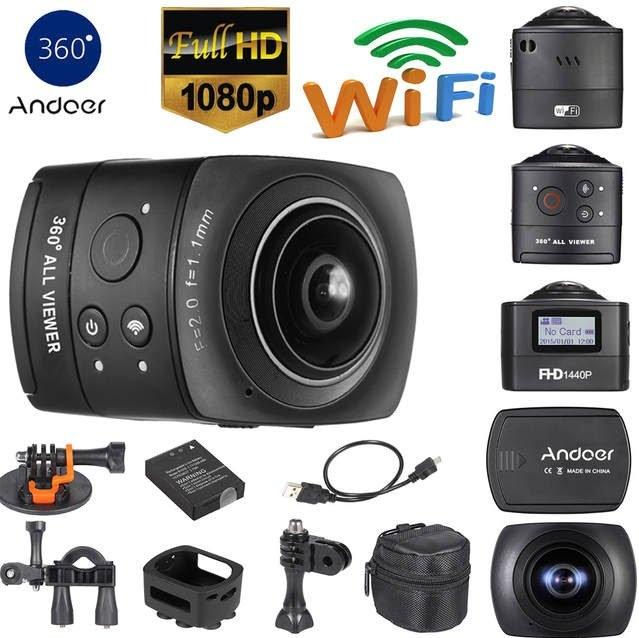 Andoer 360 Degree Panorama VR Camera Aperture F 2 0 and Effective Focal  Length f=1 1mm  Full HD 1080P Wifi Action Camera 8MP 220 degree Fisheye