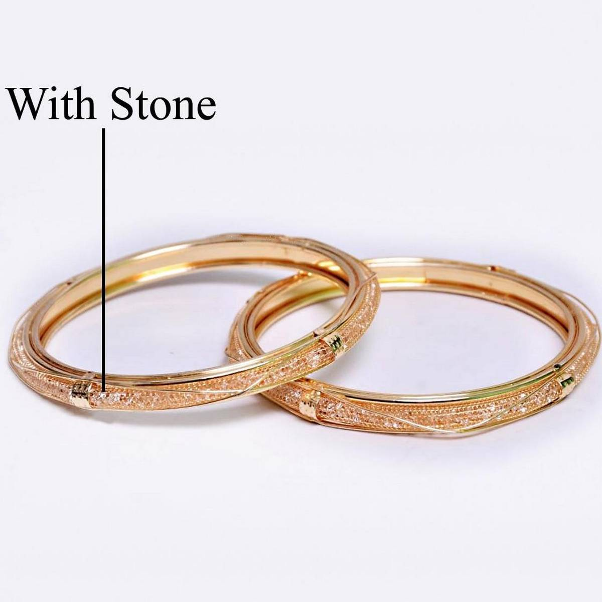 gold plated stone bangles 2 piece  for women