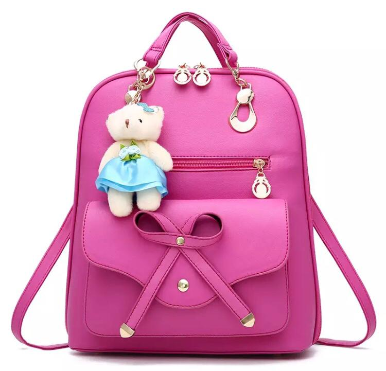 Preppy Style PU Leather Backpack with Bear Toy for Women - Backpack for Girls - Stylish Backpack - Collage Backpacks