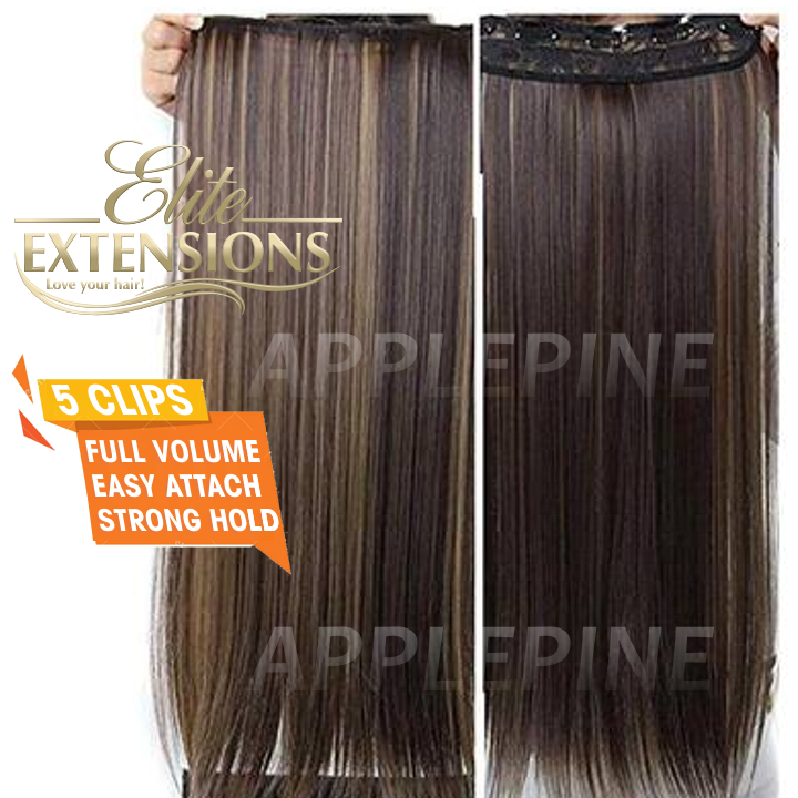 Metal Brown to Ombre Hair Extensions for Women 5 Clips 30 Inches - Used With Hair Styling Stick Bun Fashion Maker Hair Puff Maker Comb Sponge Hair Make Pad Comb hair Hair Puff Hairstyle Device