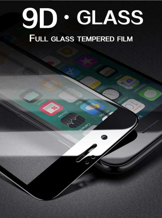 9D Full Glue Tempered Glass for Apple Iphone 6_Full Edge to Edge Coverage_100% Touch Responsive_Shatter Proof_Black
