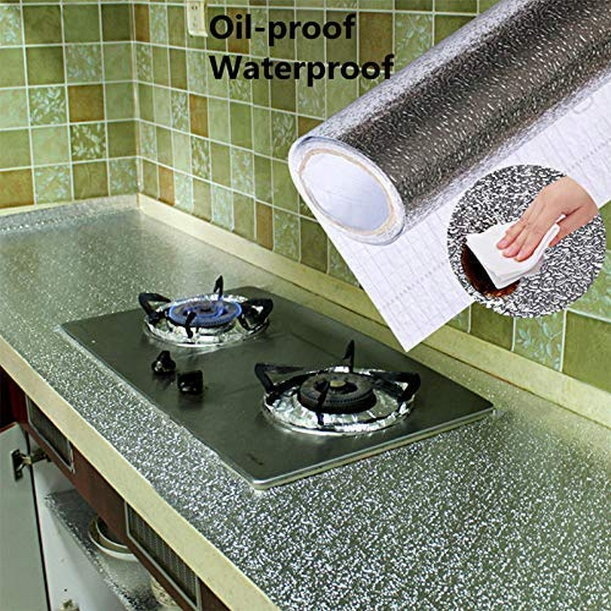 Aluminium Foil Self Adhesive Sticker Roll, Silver & Golden color Kitchen Backsplash Wallpaper, Heat Resistant Oil Proof Waterproof Aluminium Sheet DIY Sticker for Stove, Shelves, Drawers, Home, Cabinet, Furniture, Wall 30x100cm (Code 1 FoilSheet Silver )