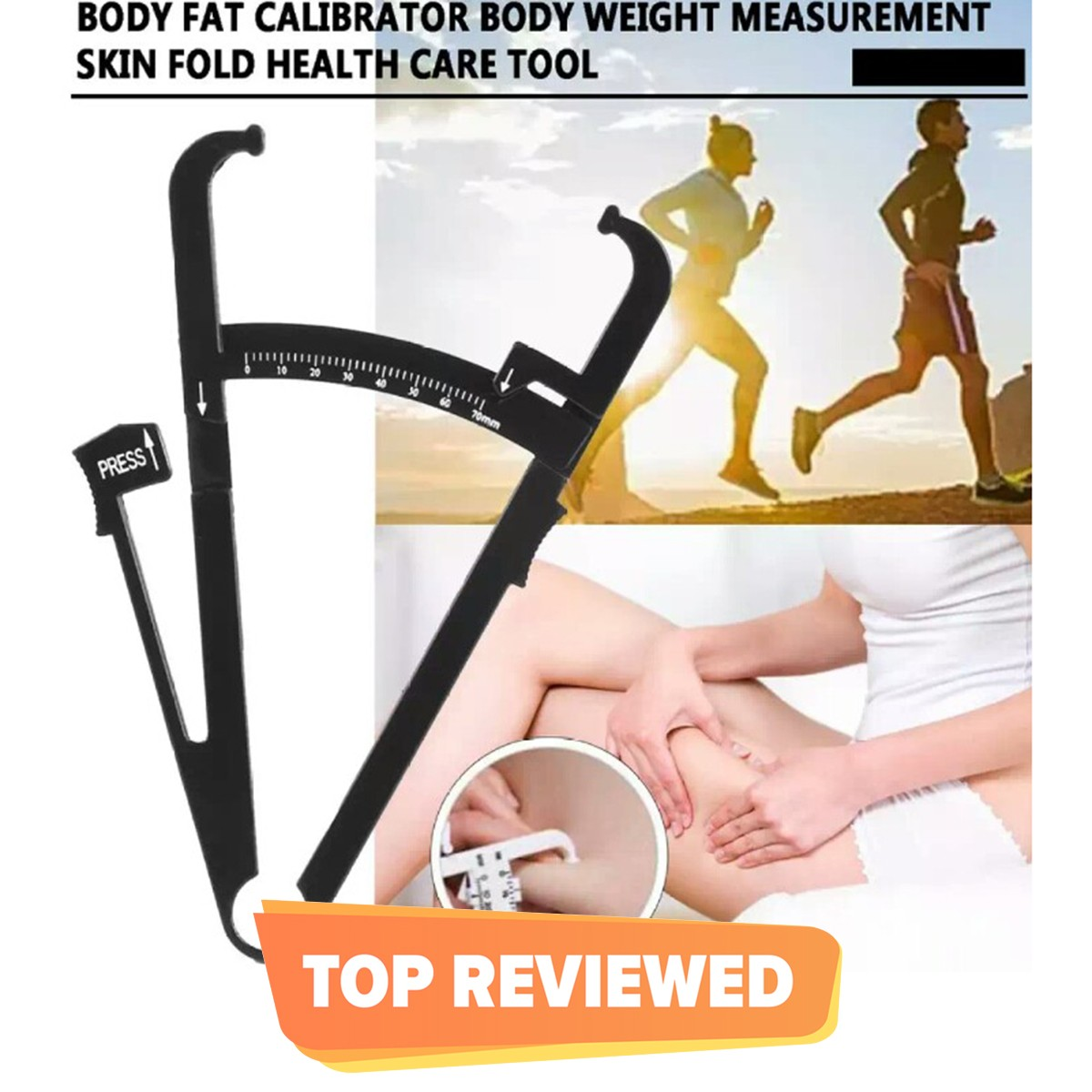 Personal Body Fat Caliper Skinfold Fitness Measurement Tool With Measuring Chart for Men And Women