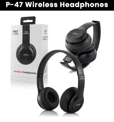 P47 wireless headphones - P47 foldable wireless headphones - P47 headphone white - P47 headphone for mobile | Noise cancellation | Foldable |  Memory card slot