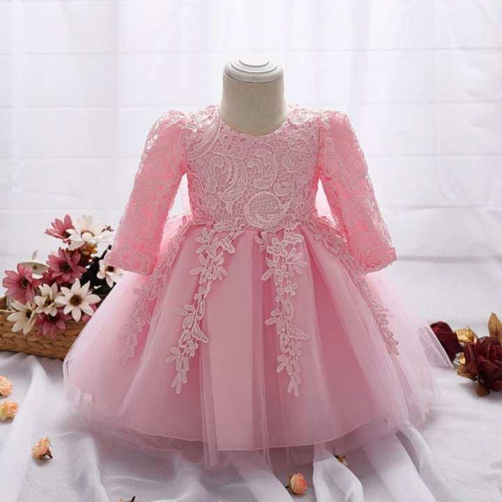 0-2 years Baby Girl Pink Ruffle Cute frock - Islamabad