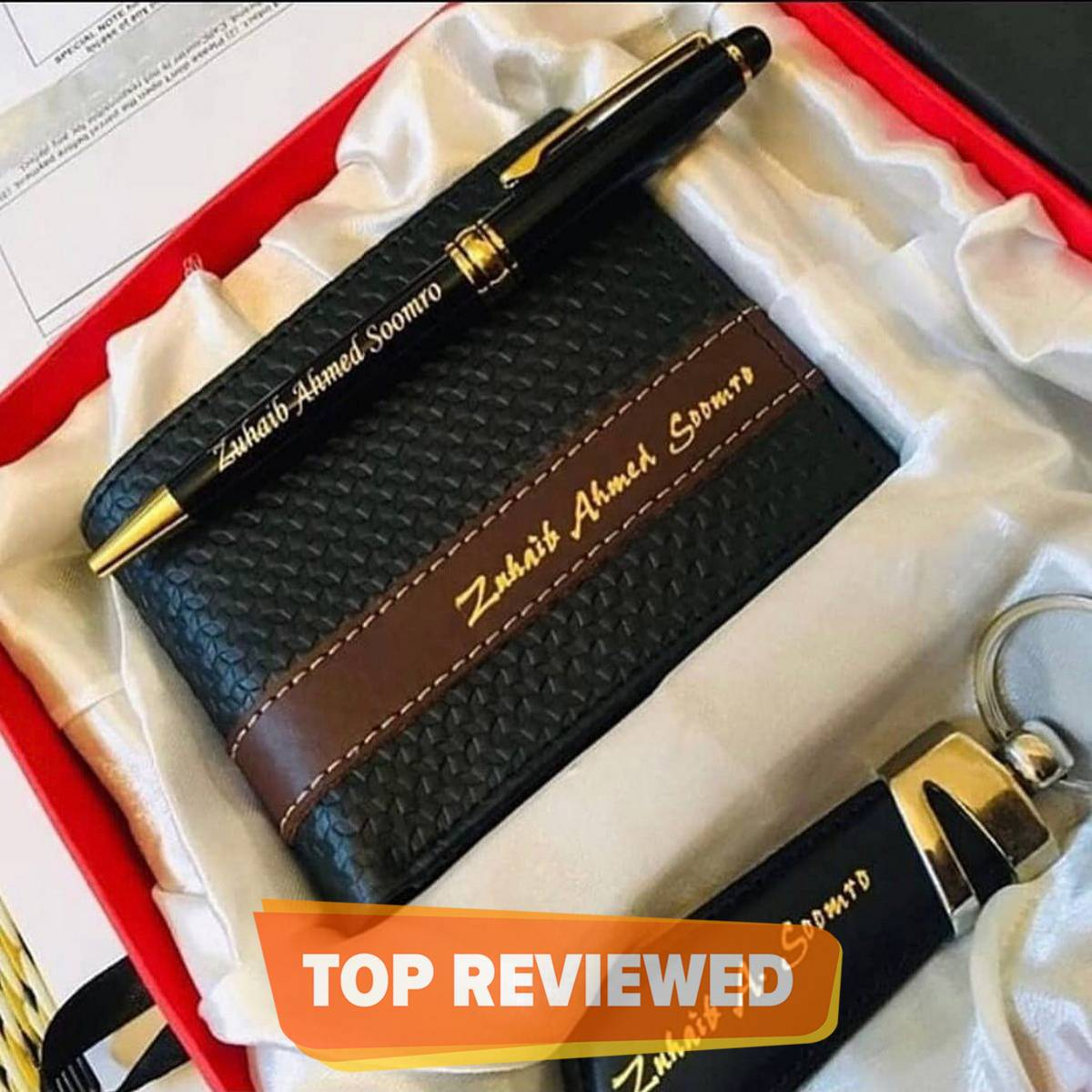High Quality Customize Wallet, Keychain And Pen Name Engrave For Men With Gift Box Packing