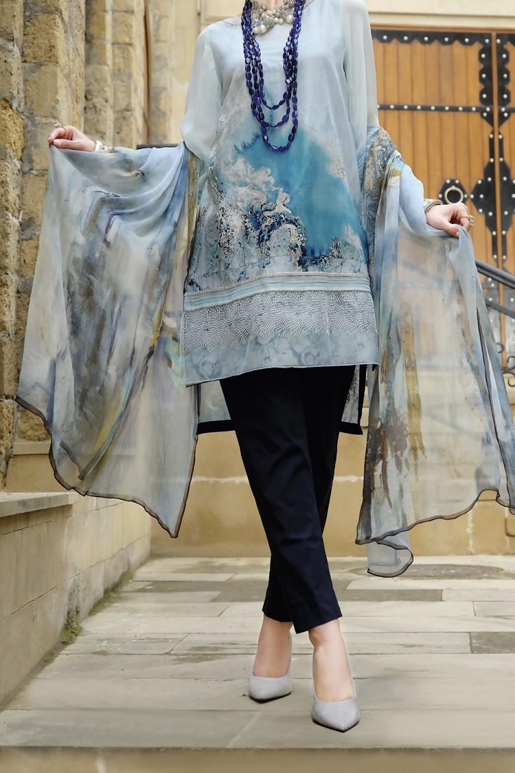 355b80847a Almirah Festive Collection 2019 AQUA LAWN UN-STITCHED - 3PC Suit for Women