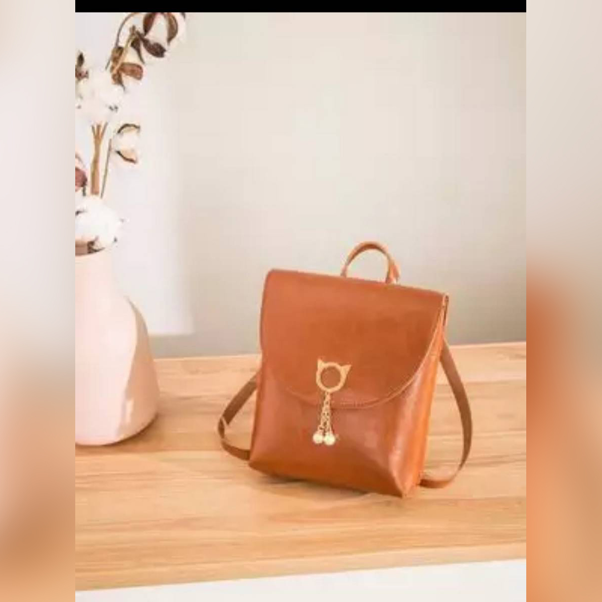 High Quality Pu Leather 3 Styles Use Bag for Stylish Girl's(Backpack+Hand Carry+Side Shoulder)