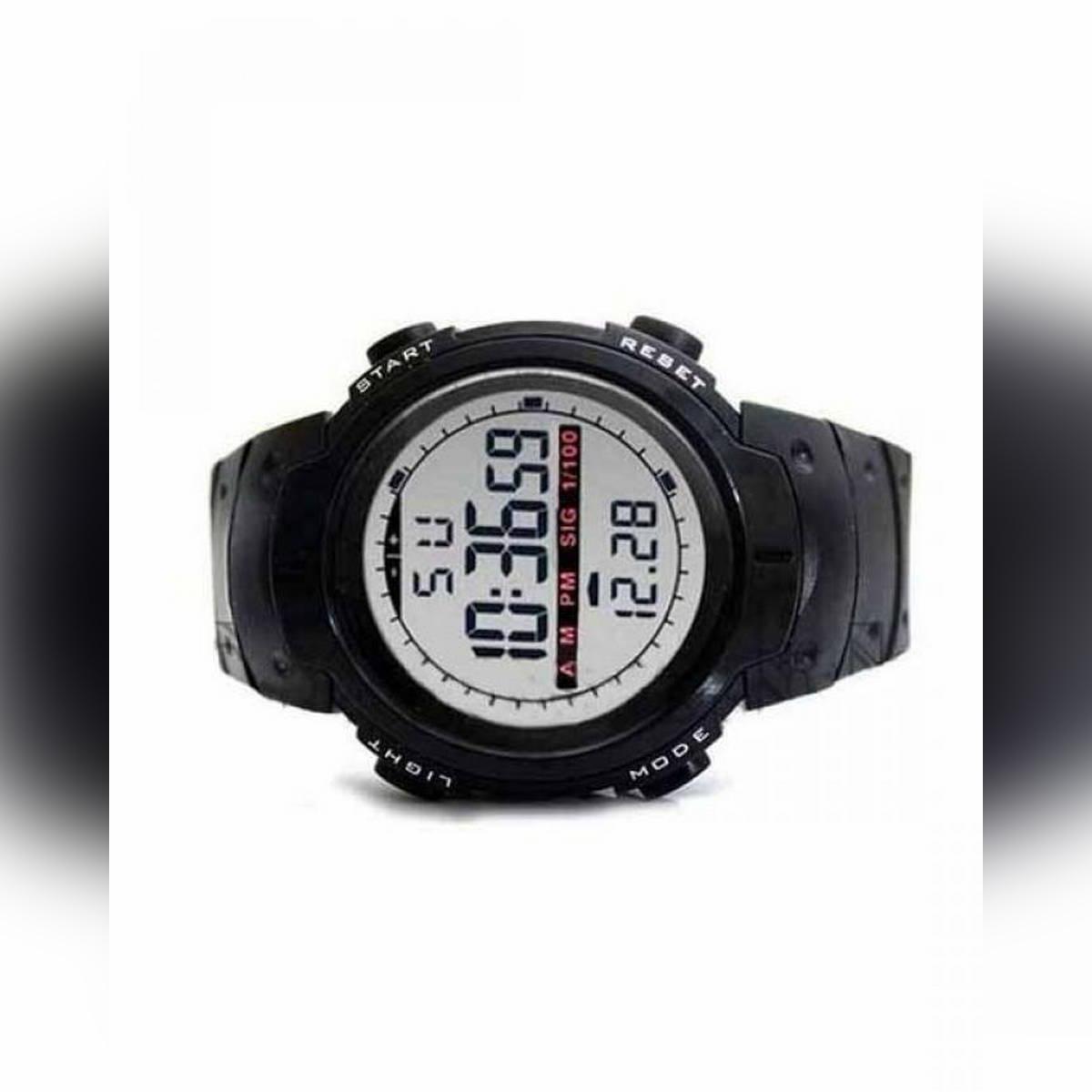 Digital Alarm Watch for Men with Night Mode Light - Black