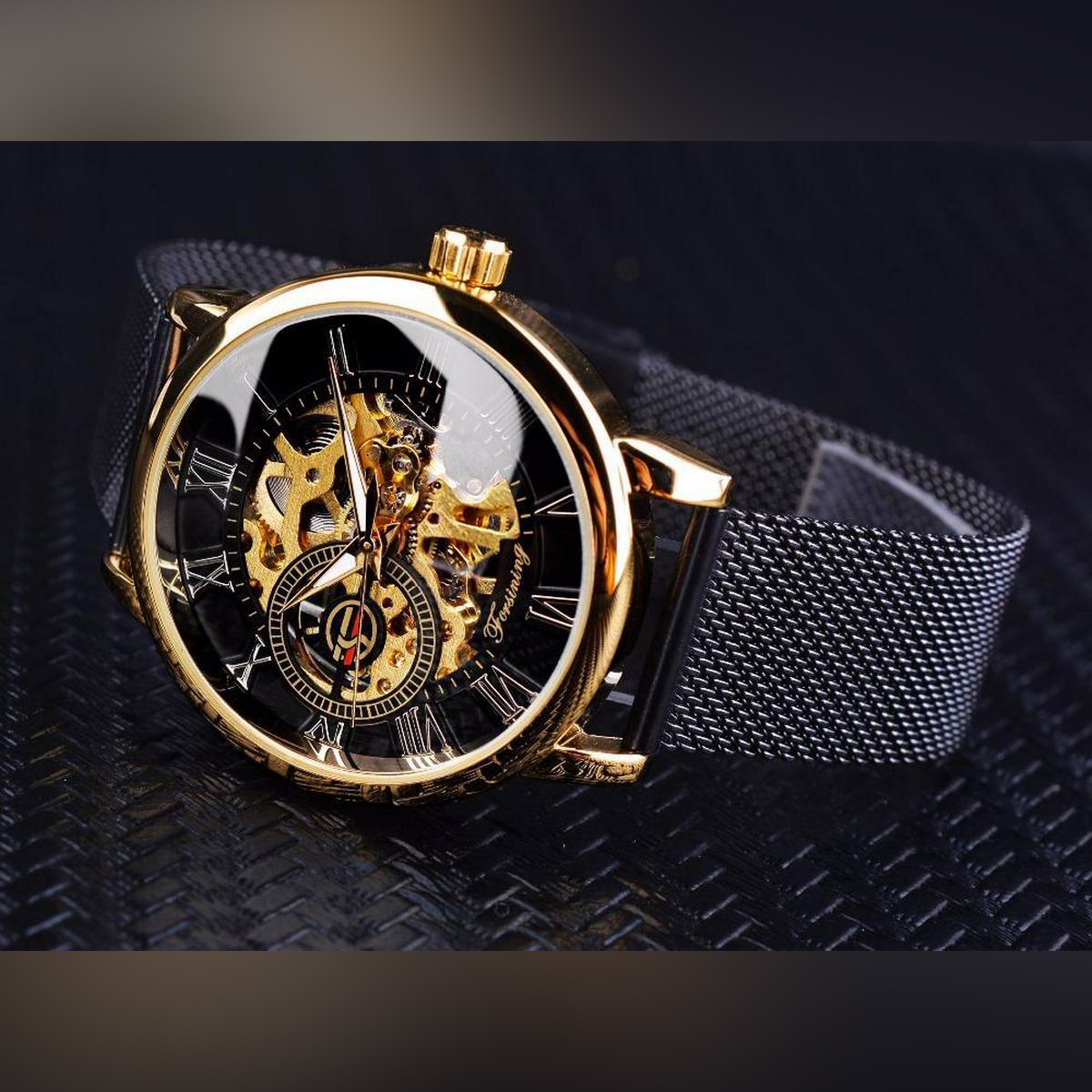 Casual Luminous Waterproof Mesh Stainless Steel Strap Creative Hollow Automatic Mechanical Watch For Men