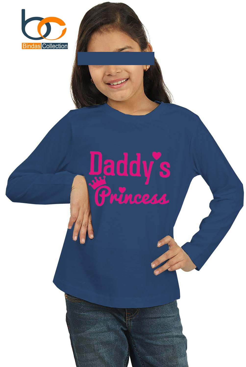 Bindas Collection Daddy's Princess Full Sleeves Cotton Jersey T-shirt For Girls