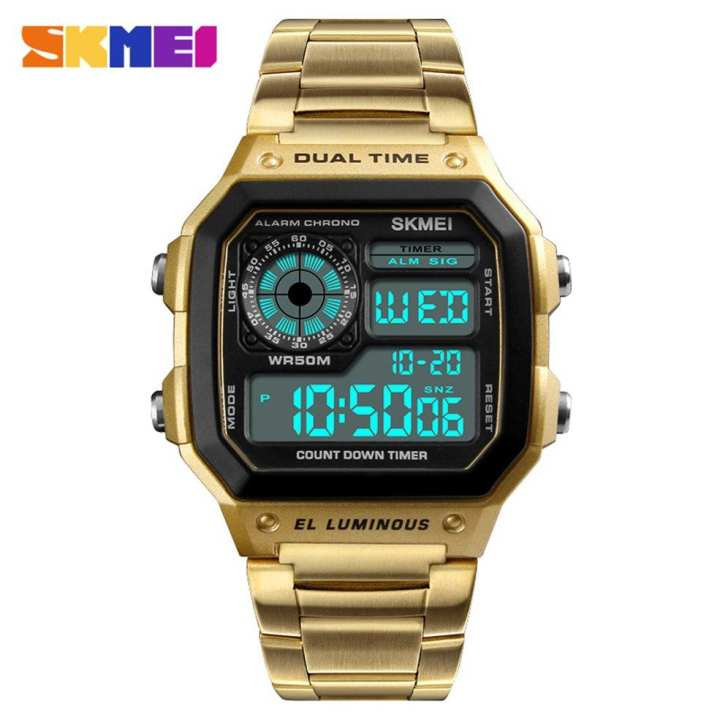 Skmei Man Dual Time Display Watch LED Digital Quartz Analog Wrist Watches