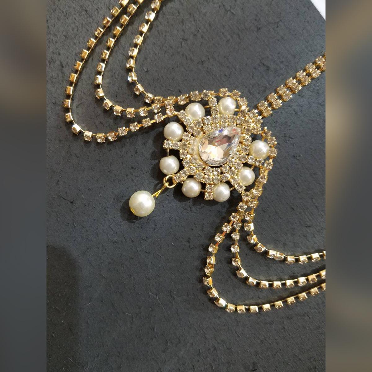 Golden Bridal Teka Matha Patti Wedding Maang Tikka Headband Bindiya Hijab Jewellery Head Wear Head Chain Headpiece Head Tikka