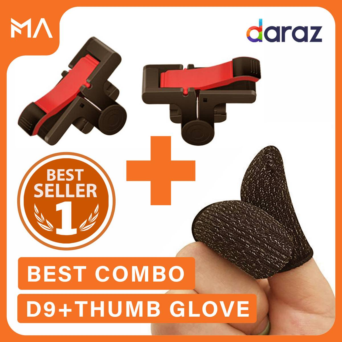 D9 Trigger Triger + Thumb Gloves Sleeves For Pubg Mobile Controller Gamepad