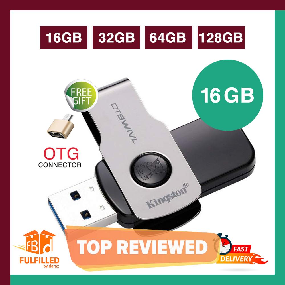 Kingston 16/32/64 GB Data Traveler Swivl High Speed 3.1 Flash Memory Stick USB Drive + FREE OTG adapter - 6 Months WARRANTY