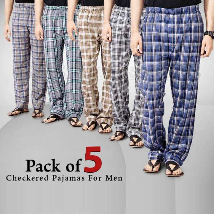 Pack of 5 - Multicolor Cotton Checkered Pajamas For Men