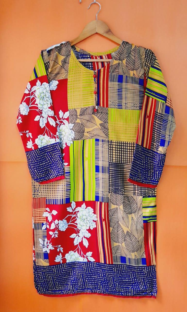 Linen Printed Kurti For Girls/Women- Multi Color