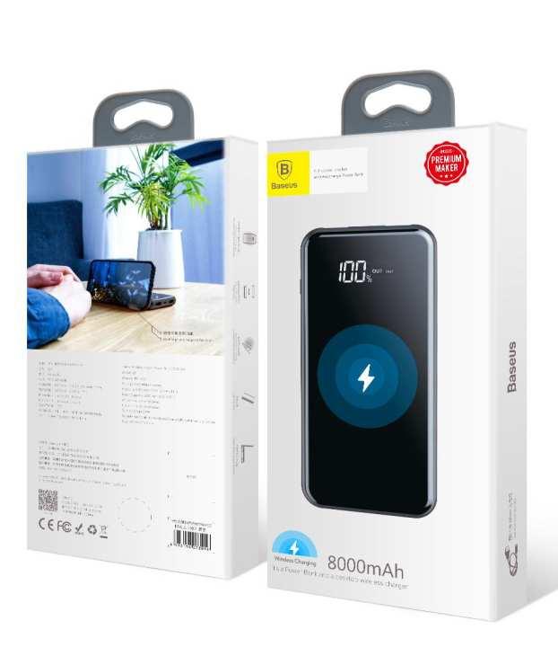 Baseus Full Screen Bracket Wireless Charger Power Bank 8000mAh Black