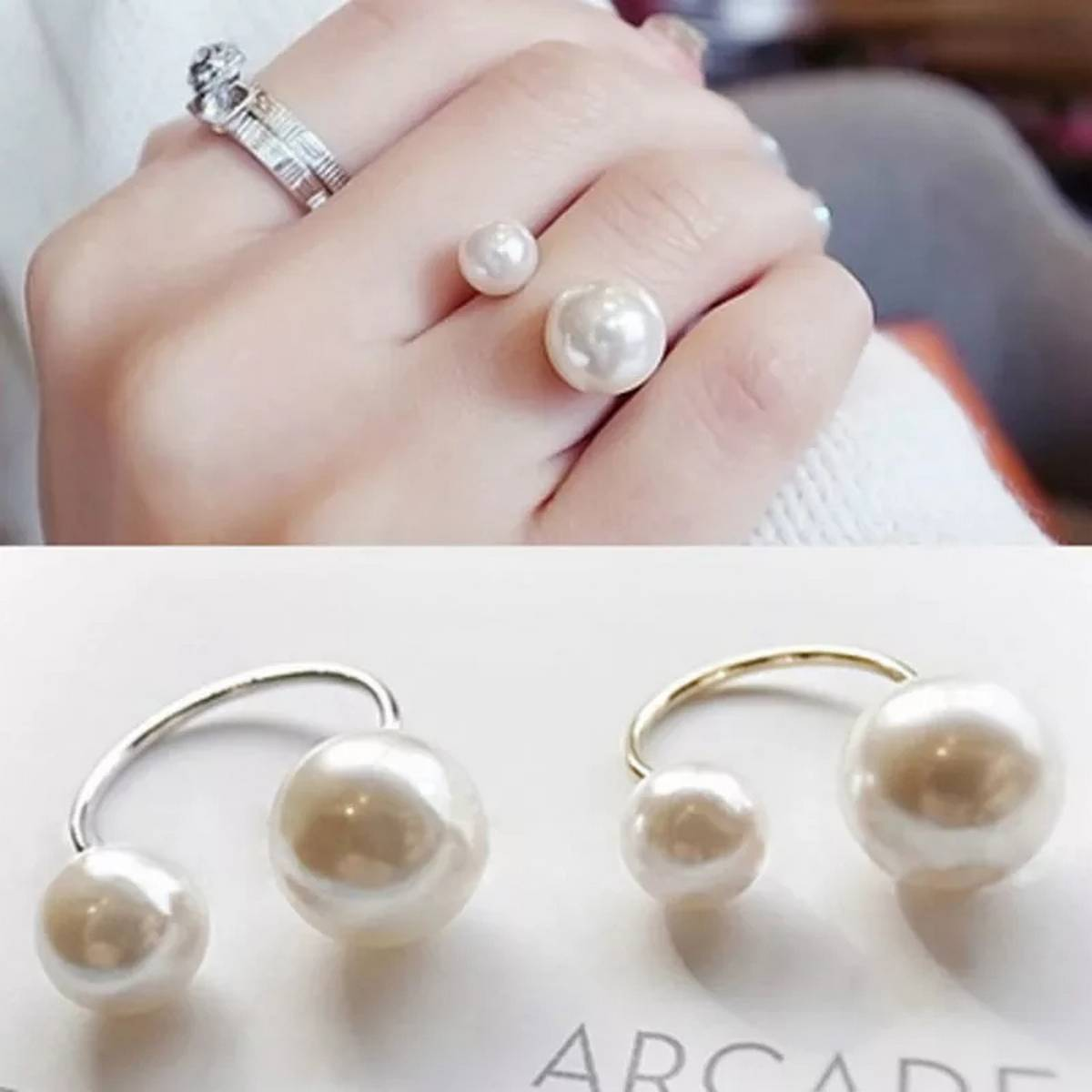 Adjustable Double Pearl Ring With Box for Girls and Women Simple Korean Style