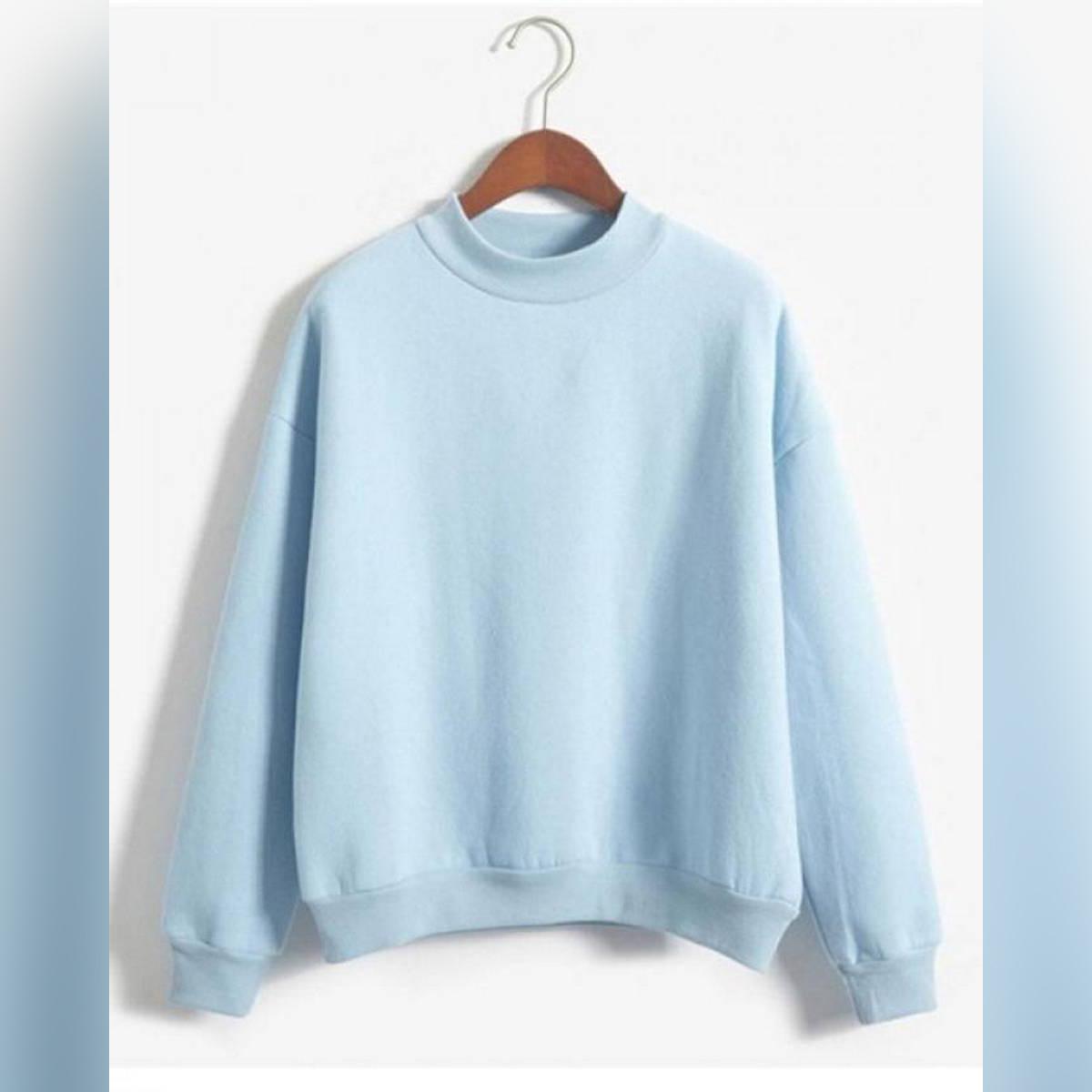 Sweatshirt 2018 Winter Casual Loose Fleece Pullover Sky Blue