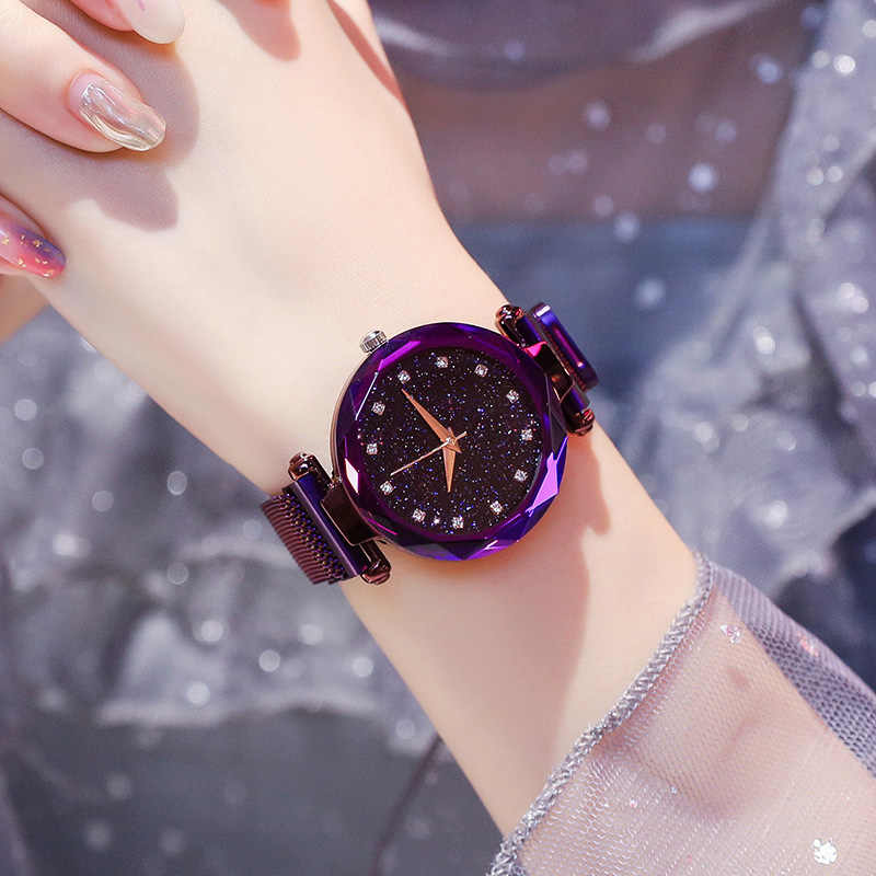 Crystal Magnetic Buckle Chain Watch For Girls Ladies
