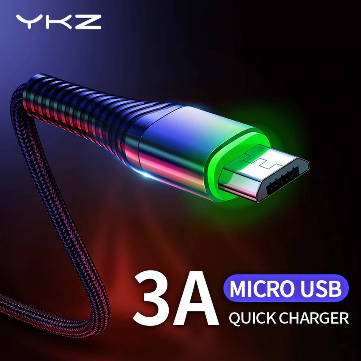 YKZ QC 3.0 1 Meter LED 3A Braided Micro USB Fast Charging + Data Cable / Sync Cable For Samsung / HTC / Infinix / Xiaomi / Oppo / Huawei / Android Phones