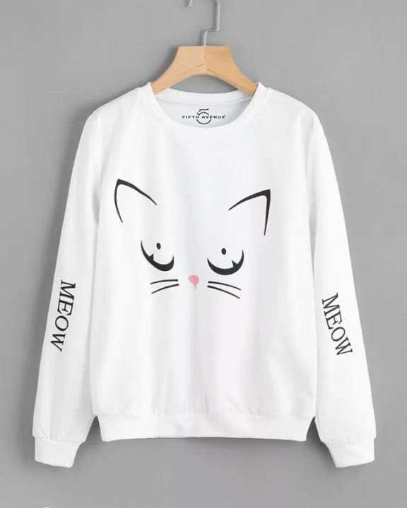 White Printed Sweatshirt  For Women
