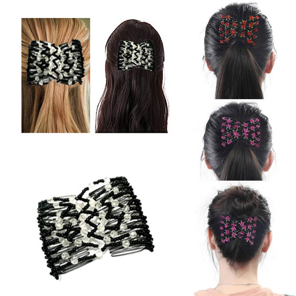 Magic Comb Clip for Women Girls Beads Flower Barrette Hairpin Elastic Double Combs Clips