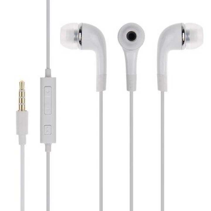 3.5mm Handsfree Earphones w Mic Dual Earbuds Headphones Earpieces Stereo Wired [White] for Samsung Galaxy J3 J5 J7, Note 3 4 5 Edge, S5 S6 Edge Edge+ S7 Edge S8 S8+ & other devices
