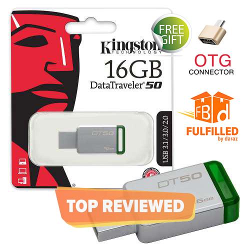 Kingston USB 16/32/64/128 GB Data Traveler DT50 High Speed 3.1 Flash Memory Stick USB Drive + FREE OTG Adapter - 6 Months WARRANTY - Best Kingston Metal USB Pen Drive  Compact, Lightweight & Capless Design