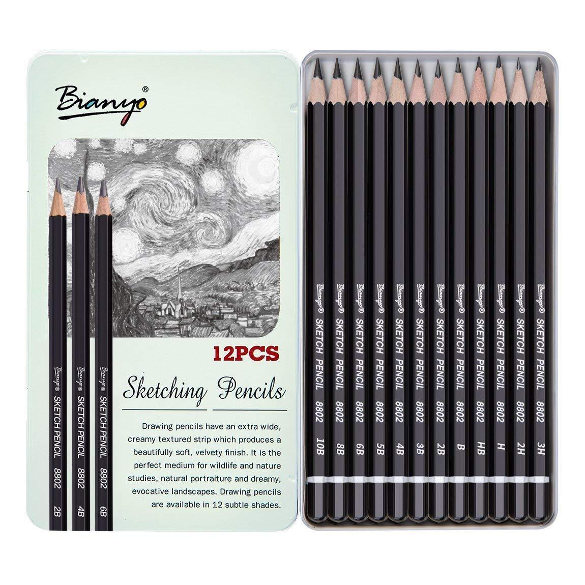 Link professional sketch and drawing pencils set art pencil 12 count 8b 2h