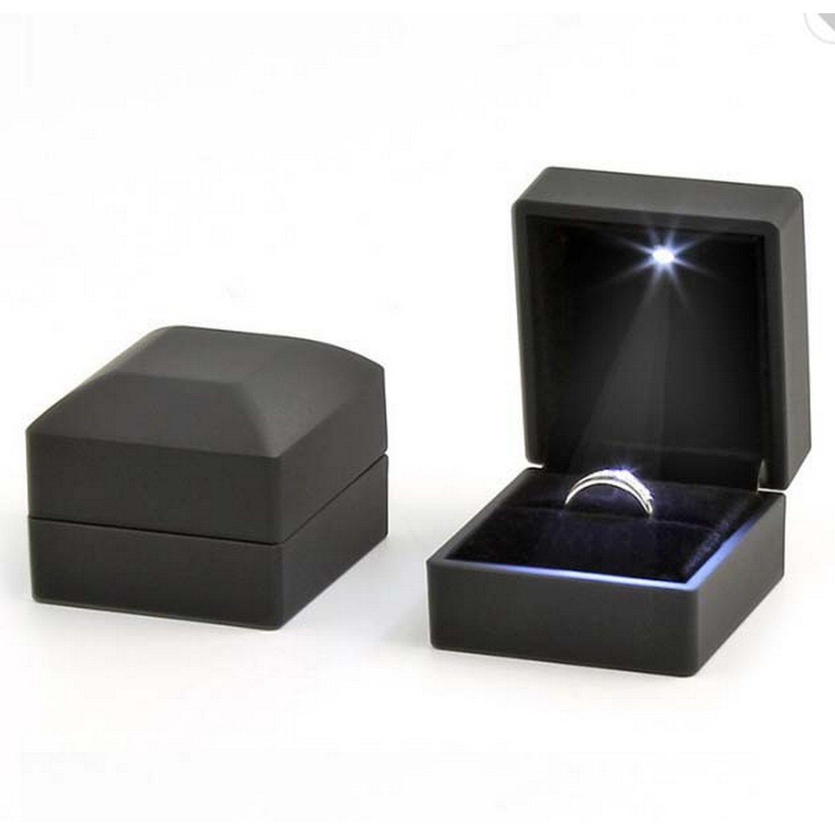 Black Velvet Ring Box for Proposal/Engagement/Wedding Square Jewelry Gift Box with Led Light