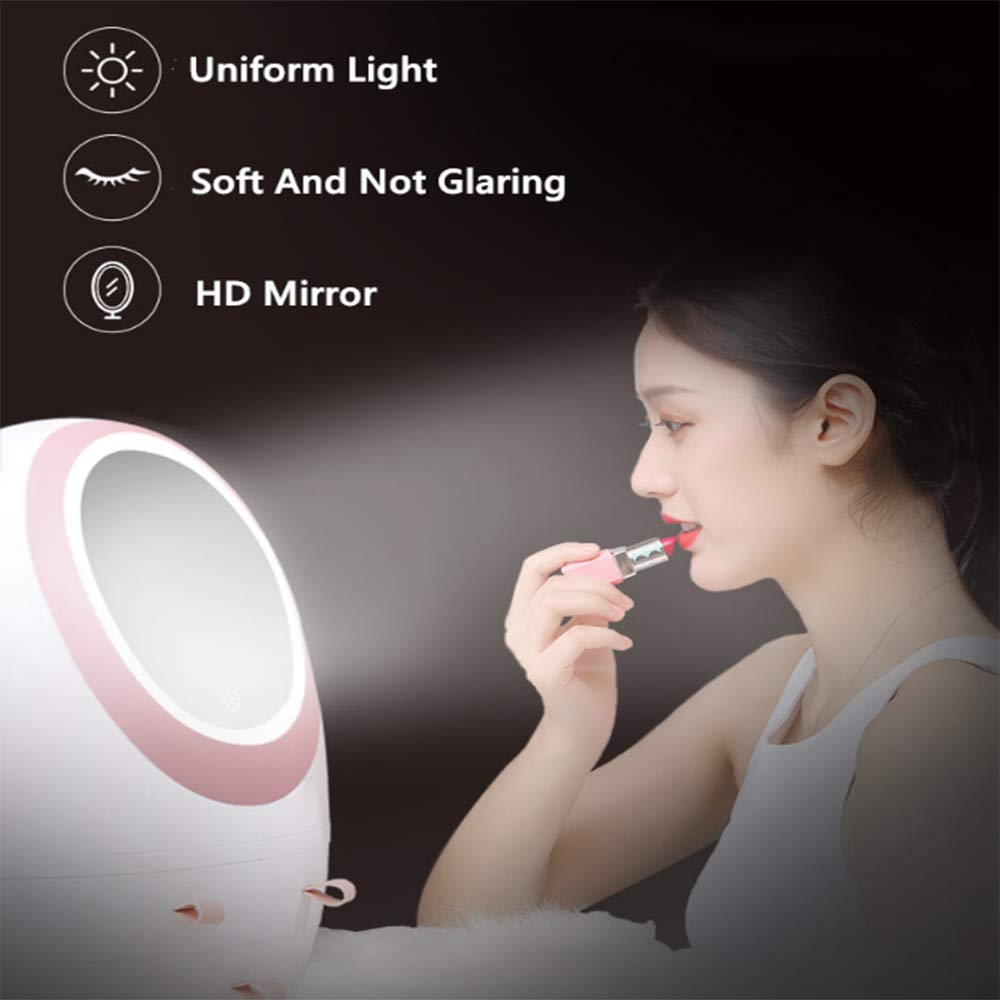 LED Mirror Makeup Organizer,Makeup Mirror Organizer with Light LED Portable Adjustable Dressing Table Desktop Finishing Box Jewelry and Cosmetic Storage Display Case for Bathroom Dresser
