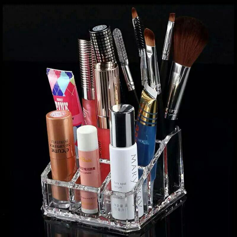 Transparent  9 Grids Cosmetic Box Display Stand make up Storage Case Lipstick Jewelry Box Case Holder Acrylic Makeup Organizer Storage Box. Best for Gift