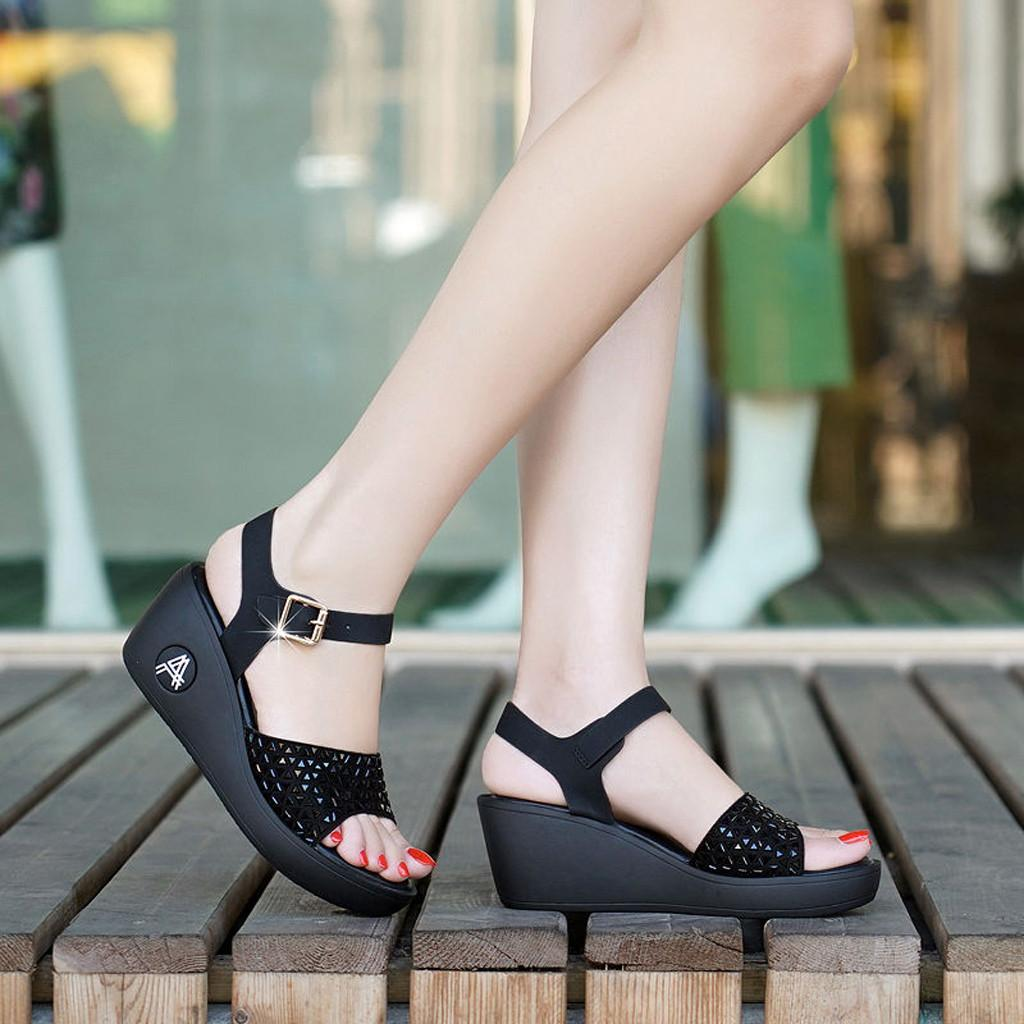 160201b705 MissFortune High Heel Women's Shoes Wedge Sandals Women's Casual Shoes  Summer Thick Sandals