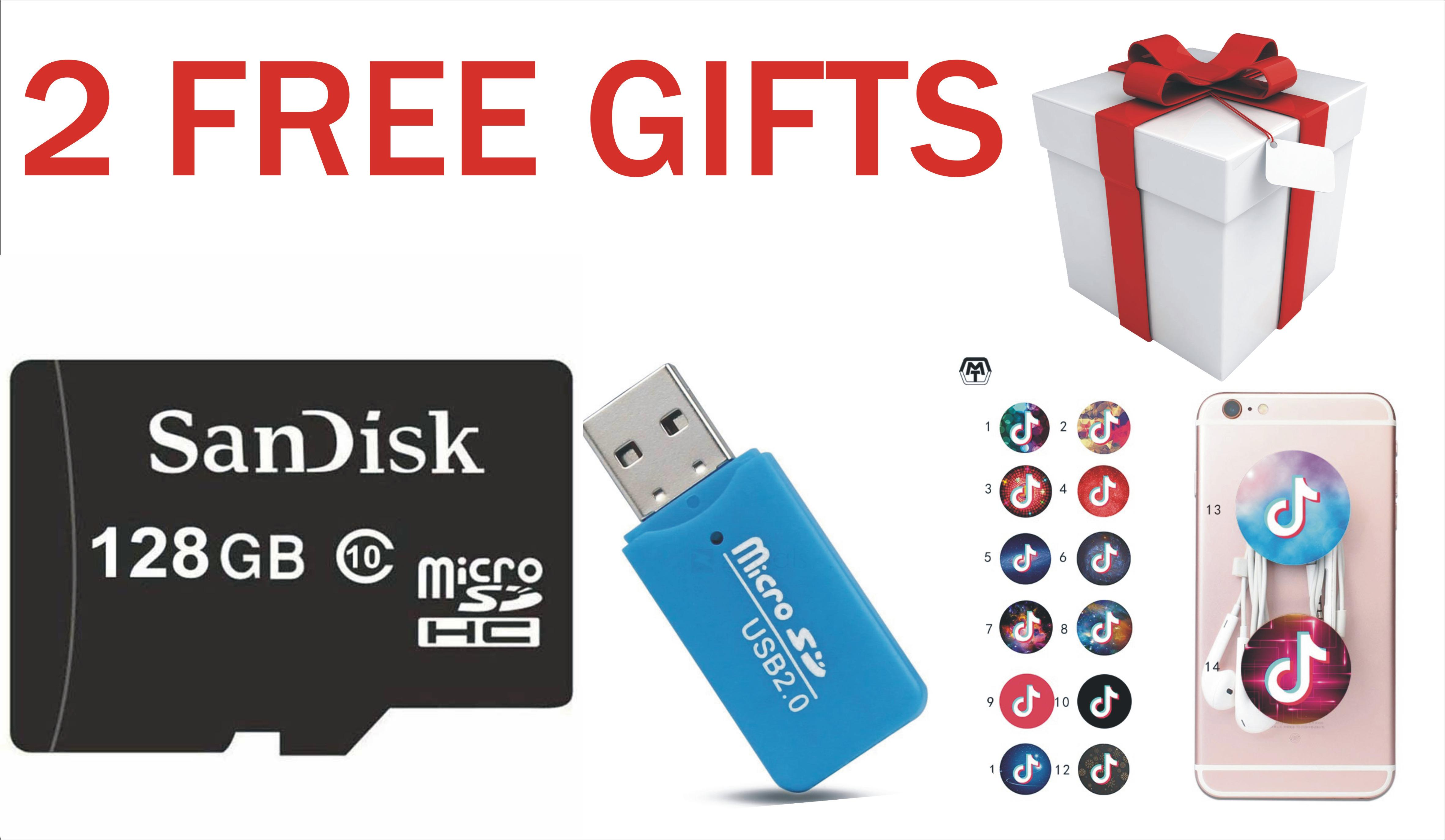 128 Gb sd card with 2 free gifts popsocket and card reader(targets)