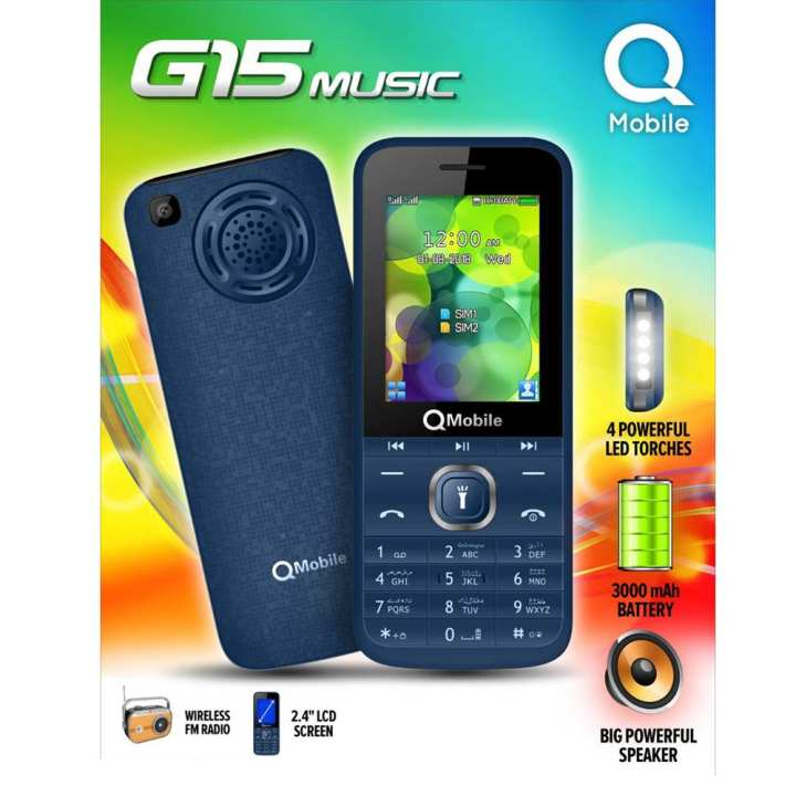 Qmobile G15 Mobile 2.4inch Display, Camera, 4 LED Torch, Big Speaker, FM Radio, 3000mAH Battery
