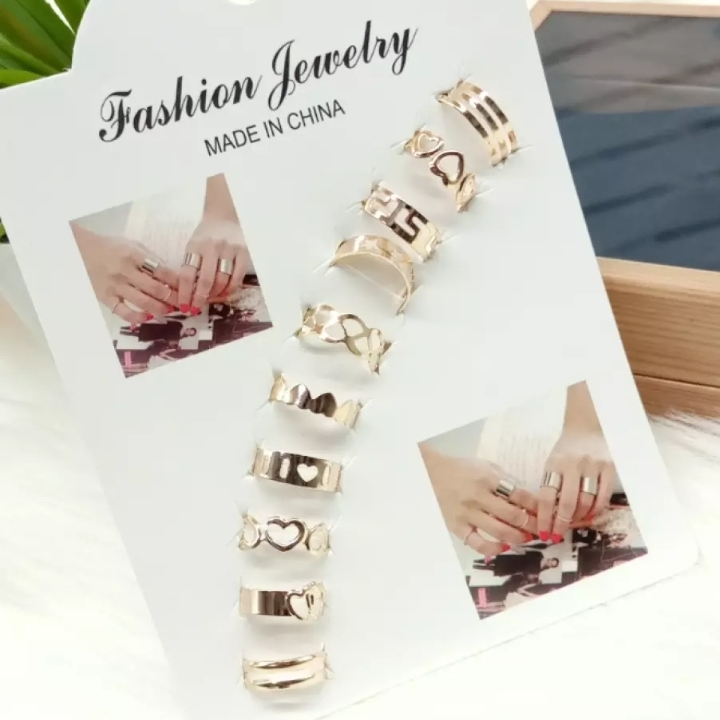 Pack of 10 Bohemian Boho Vintage gold silver Ring Set For Girls Women best Feshion jewelry