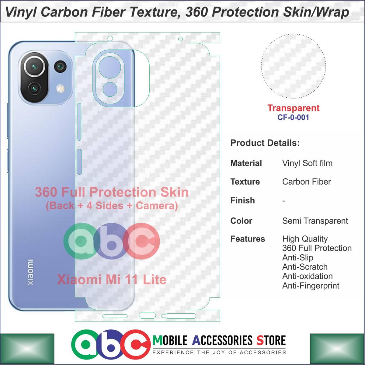 Xiaomi Mi 11 Lite , 360 Full Protection Vinyl Plain / Carbon Fiber / Leather Textures Skin for Mi11Lite